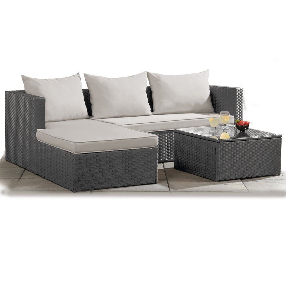 best service aec5c 70fca Thompson & Morgan Garden Furniture Rattan Interchangeable Corner Sofa &  Table Machine Washable Cushions (Grey)