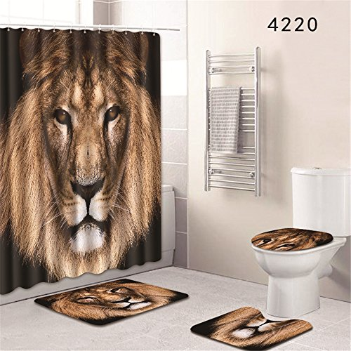 Oyeahbridal Set of 4 Animal 3D Printing Theme Shower Curtain and Bath Mat Set,African Lion Decor Waterproof Non-slip Bathroom Curtain and Rug Set with Hooks(Multi 18)