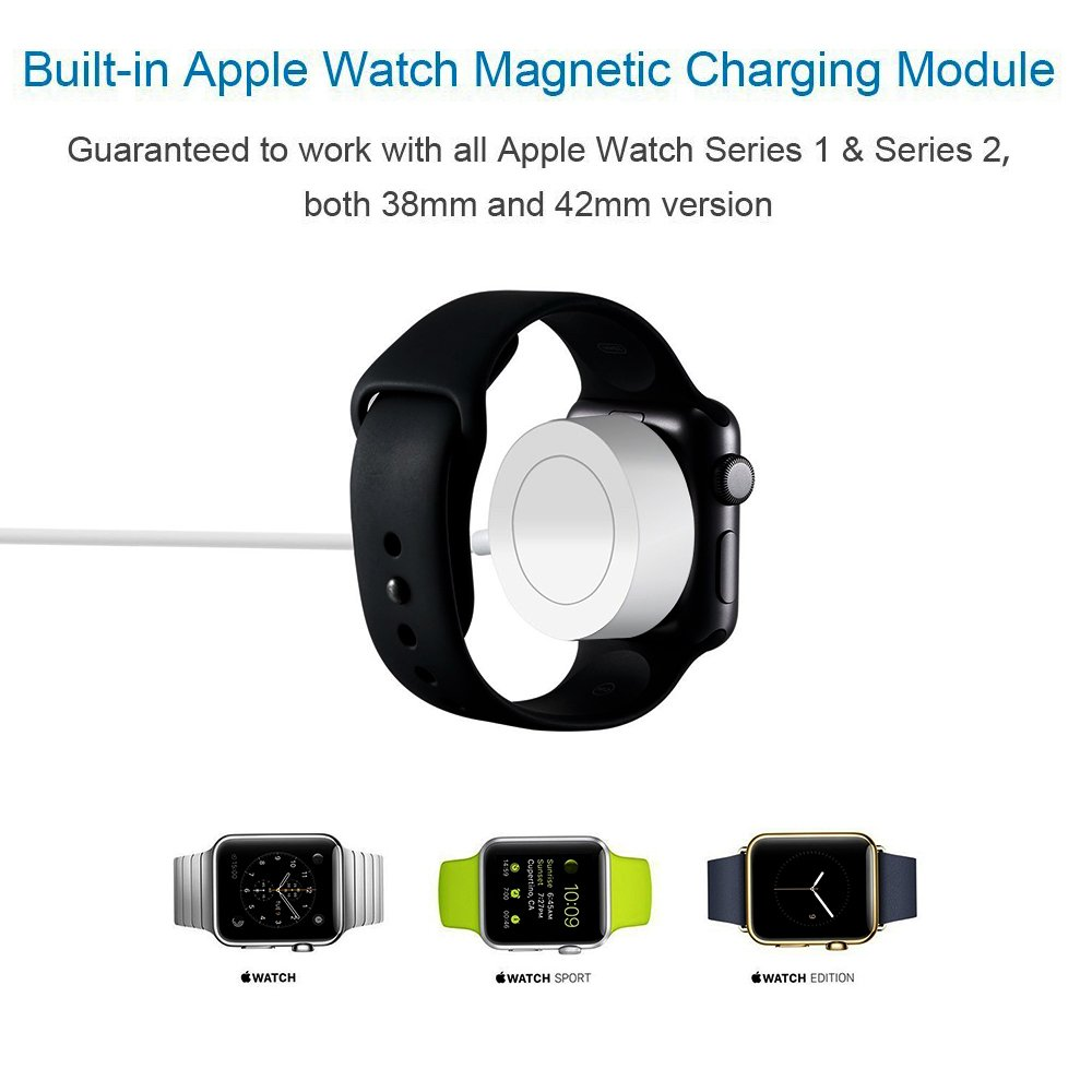 Apple Watch Charger Cable, CHEAXICS iwatch Magnetic Charging Cable Portable Cord 3.3 feet/1meter for iWatch 38mm & 42mm, Apple Watch Series 1/2/3 (silver 3.3ft) by CHEAXICS (Image #3)
