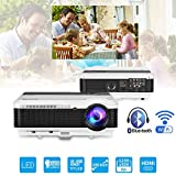 Bluetooth Projector Wireless LED 3600 Lumen Android Bluetooth Proyector Smart Wifi HD WXGA Home Theatre Projectors Airplay Miracast LCD 1080P Android Projector with Bluetooth HDMI USB VGA AV Audio Out
