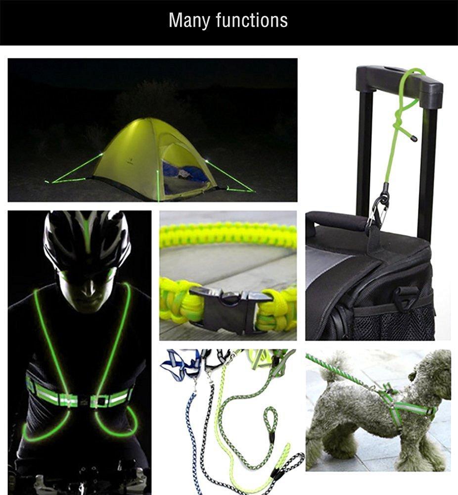 550 Glow Portable Survival 9 Strand Cord Paracord Parachute Bracelets Luminous in the Dark 100/% Nylon 25ft 50ft 100ft