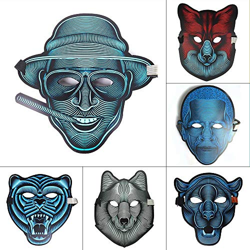 LITHER LED Mask Sound Cosplay Party, Halloween Rave Party Favor