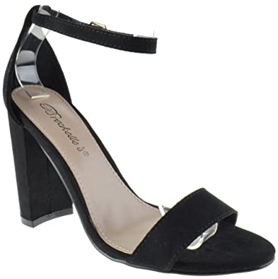 6fe09c104334 Devie 02 B Womens High Heel Open Toe Ankle Chunky Pumps Sandals Black Suede  10