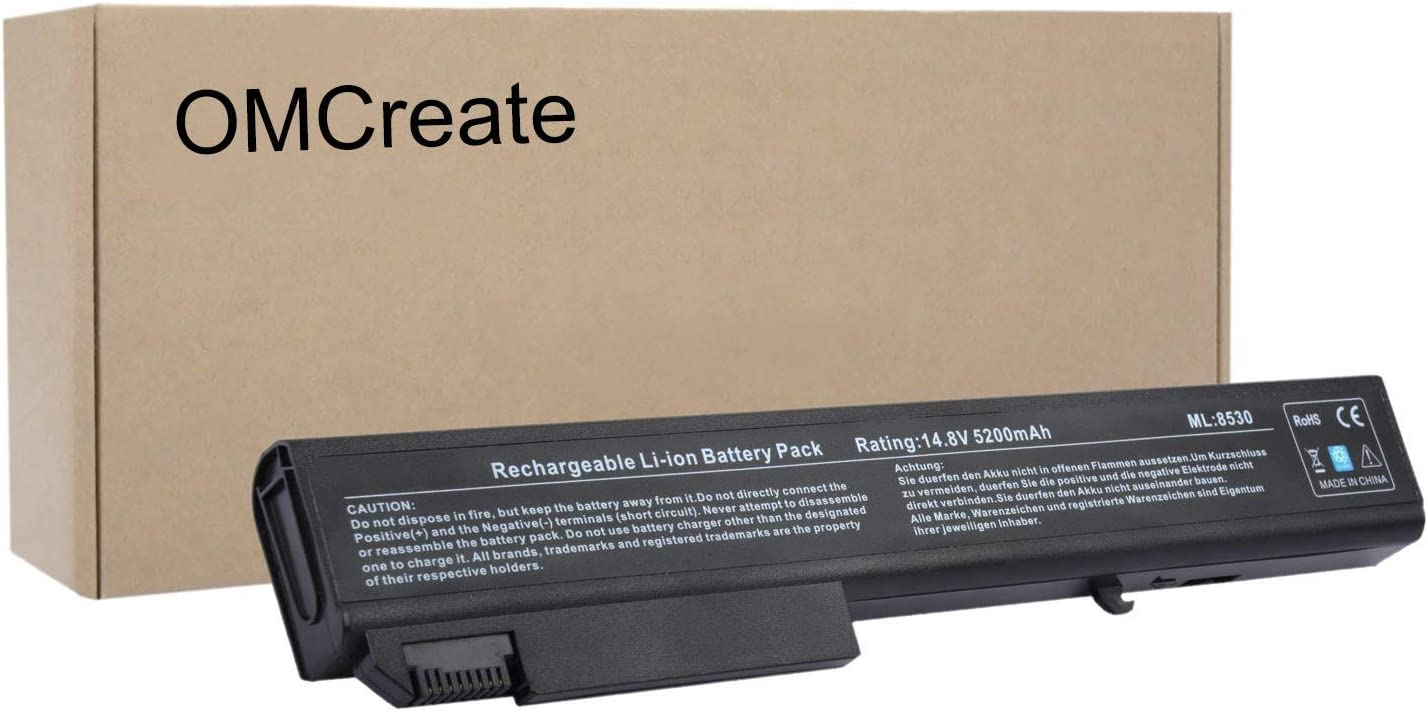 OMCreate Battery Compatible with HP EliteBook 8530P 8540P 8530W 8540W 8730W 8740W / HP ProBook 6545B, fits P/N KU533AA 493976-001 - [Li-ion 8-Cell]