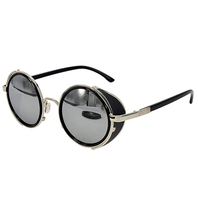 5882860a9ac Ucspai Steampunk Sunglasses Silver Frame with Silver Reflective Lens   Amazon.in  Clothing   Accessories
