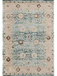 light blue traditional 5 x 7 area rug carpet large new