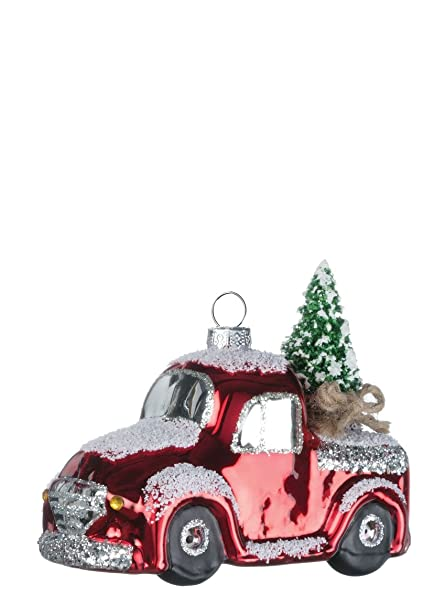 Amazon Com Vintage Red Truck With Christmas Tree 4 Inch Snowy Glass
