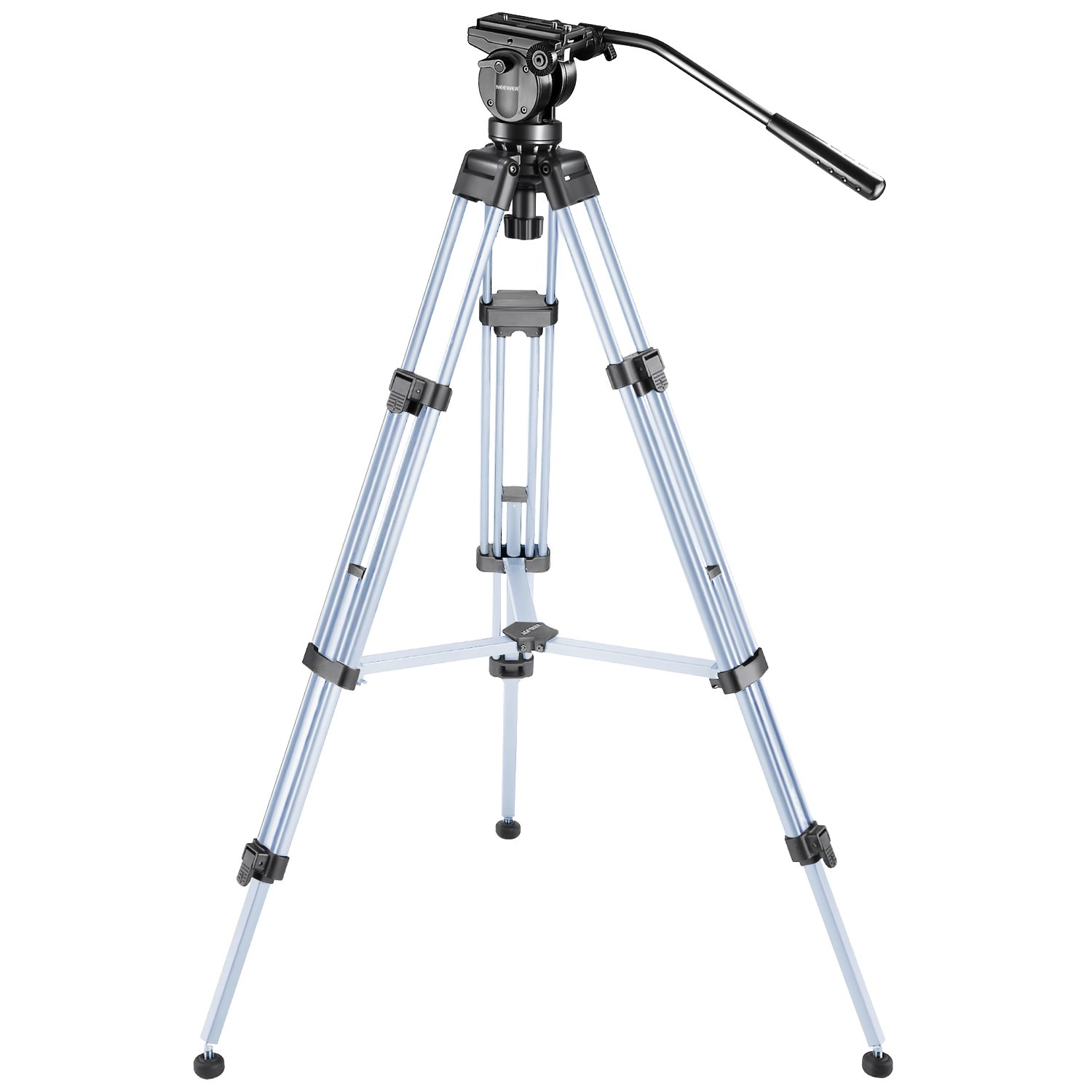 Neewer Pro Video Camera Tripod 61 inches/155 centimeters Aluminum Alloy with 360 Degree Fluid Drag Head, 1/4 and 3/8-inch Quick Shoe Plate and Bubble Level, Load up to 26 pounds/12 kilograms (Silver)