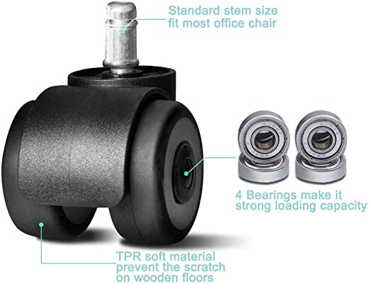 2inch Office Chair Caster Replacement TPR Wheels Heavy Duty /& Safe,Universal Standard Stem 11x22mm,Set of 5,Quadruple Ball Bearing Design 660lbs,Protect Hardwood Floors,Upgrade Double Wheel