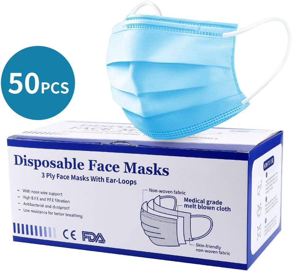 ikeepi 50pcs Protección Facial desechable contra Cubierta Impermeable 3-PLY Alta filtración y Seguridad de ventilación