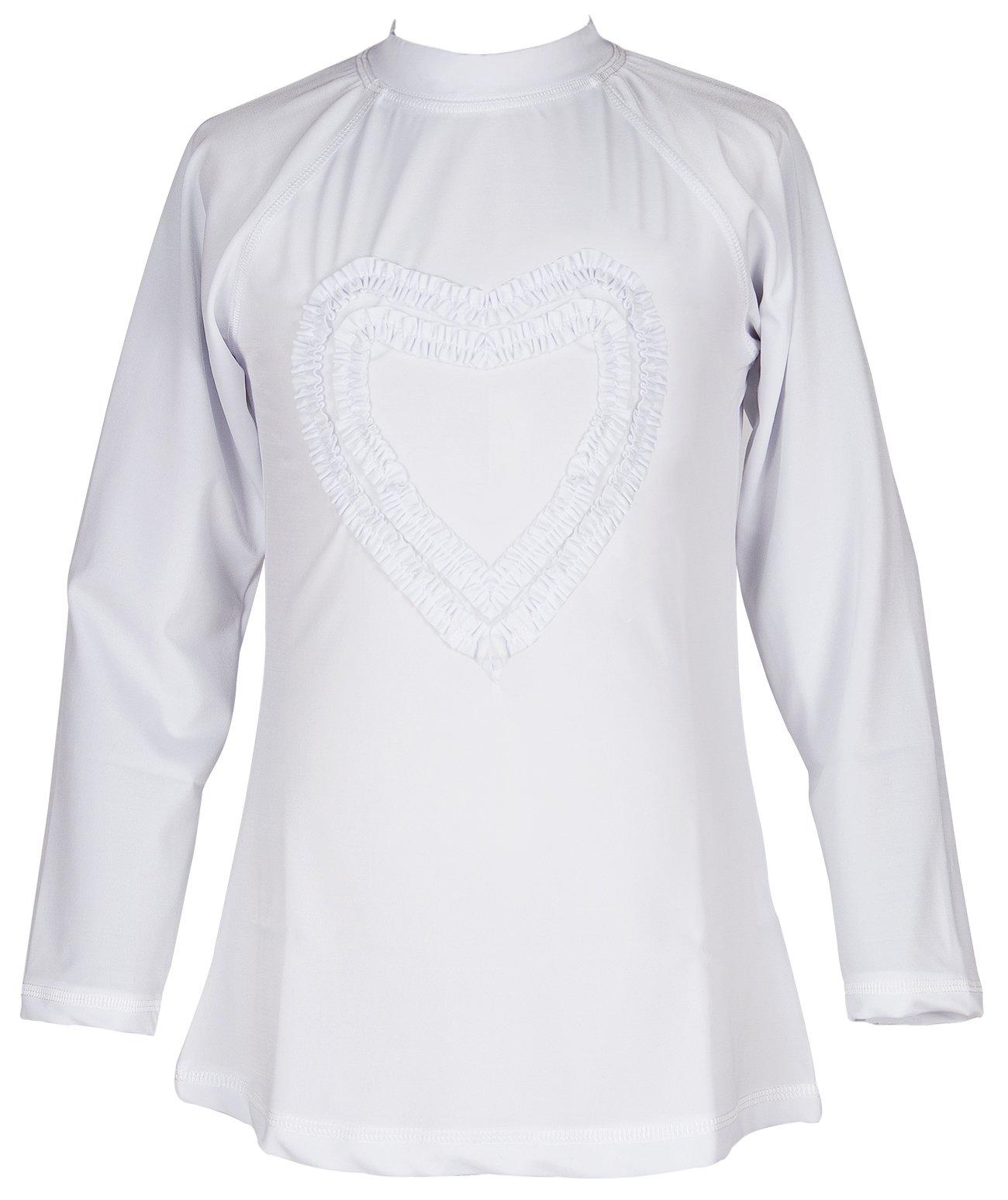 Girls' Ruffled Valentine Solid Rash Guard Swim Shirts UPF 50+ Sun Protective (12, White Long)