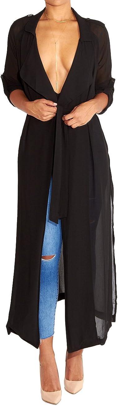 Begonia.K Womens Long Sleeve Chiffon Lightweight Maxi Sheer Duster Cardigan