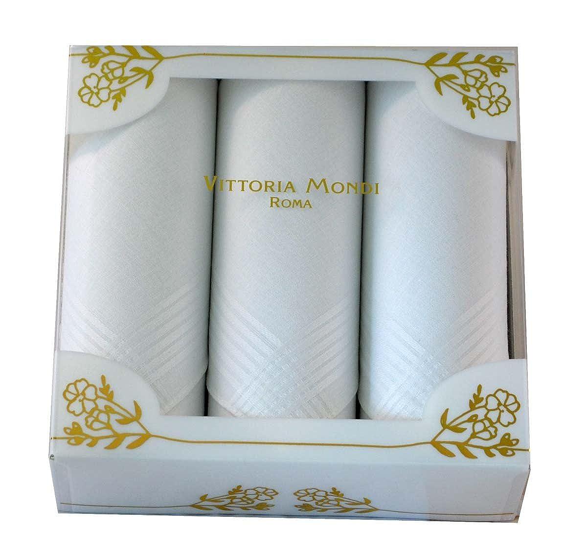 coolkaufen Geschenkpackung mit drei hochwertigen Damentaschentü chern in weiß