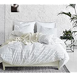 SANMADROLA Modern Mini Black And White Grid Plaid Checkered Pattern 3 Piece Whtie Duvet Cover Sets With Zipper Closure Mini Grid Queen