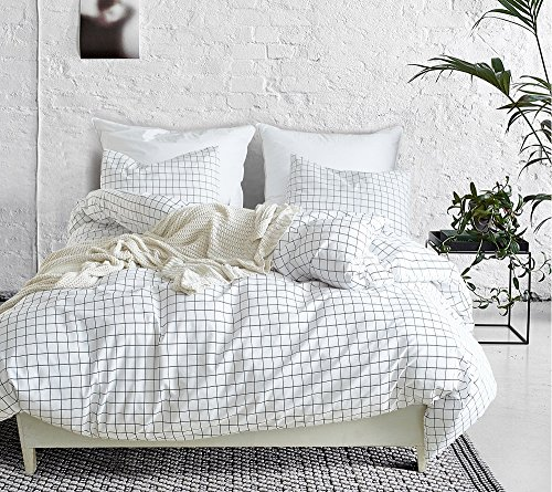 SANMADROLA Modern Mini Black and White Grid Plaid Checkered Pattern 3 Piece Whtie Duvet Cover Sets with Zipper Closure Mini Grid Queen ()