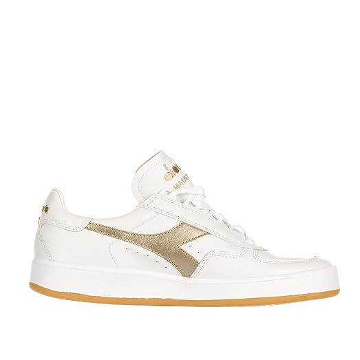 Diadora B.Elite Italia Mens White Leather Lace Up Sneakers Shoes 8