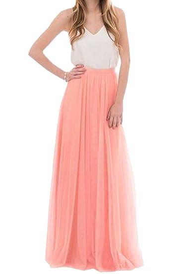 c6c88244ad3 Uswear Women Wedding Long Tulle Skirt Dress Bridal Bridesmaids Floor Length  High Waisted Maxi Tutu Party