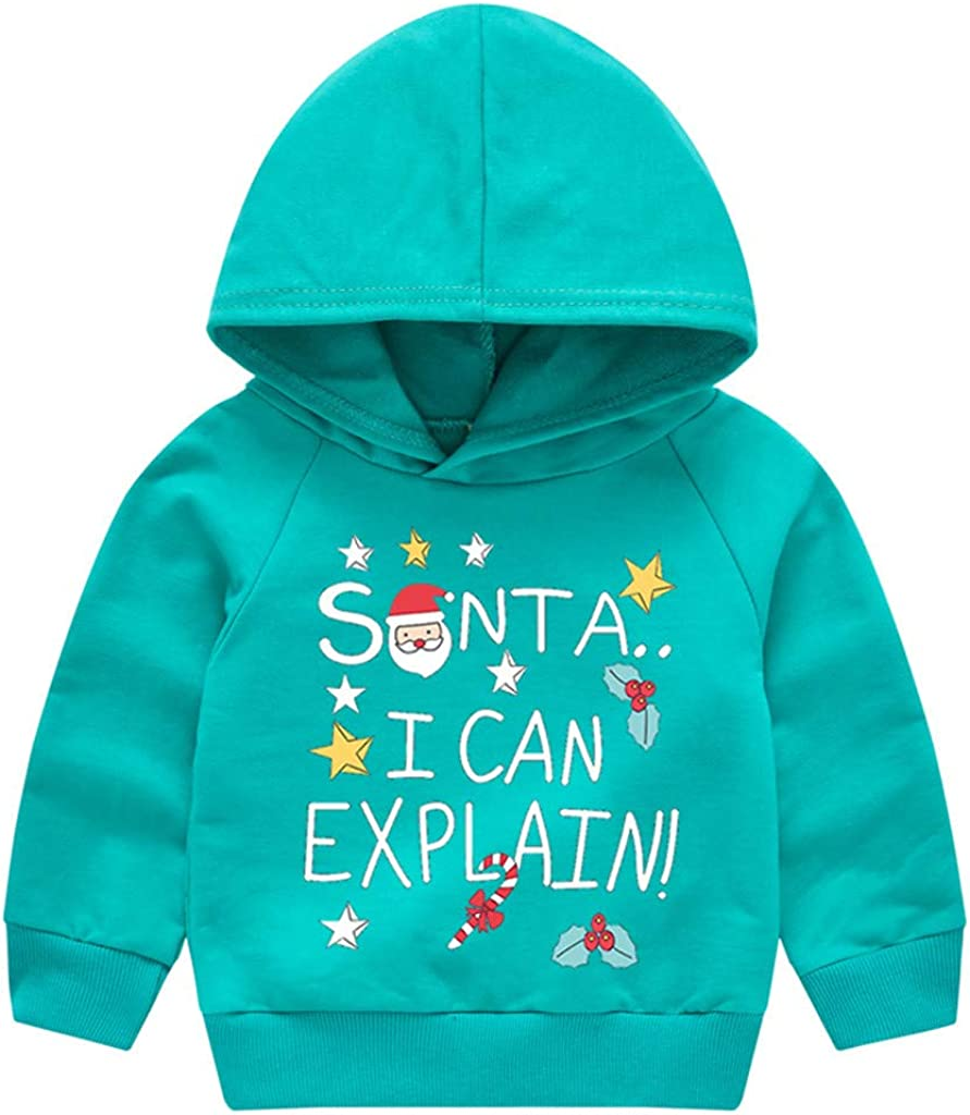 waitFOR Toddler Baby Christmas Jumper Boys Girls Winter X-MAS Santa Deer Print Long Sleeve Hooded Pullover Sweater Warm Thick T-Shirt Sweatshirt Tops Suit for 1-5 Years