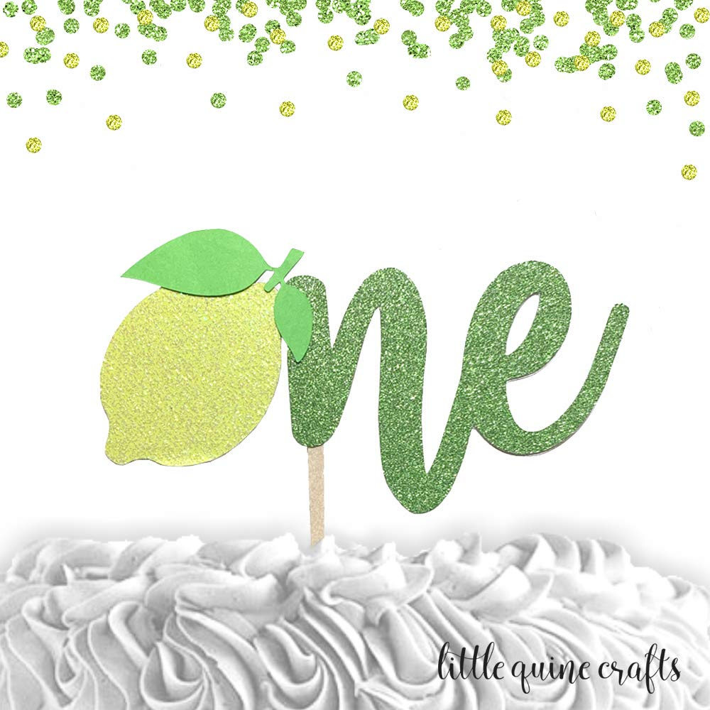 1 pcOne lemon leaf script yellow green Glitter Cake Topper for first Birthday Baby girl boy tutti fruity fruit summer cake smash party