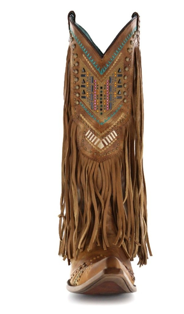 Corral Women's Aztec Long Fringe Cover Tan Cowboy Boots B00X6CWWBY 11 B(M) US|TAN/MULTICOLOR