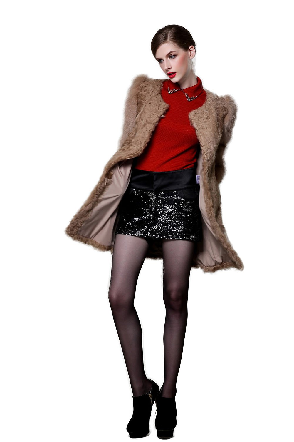 Little Victoria Women's Long Section Of Fox Fur Sleeves And Lamb Skin Coat Brown 14