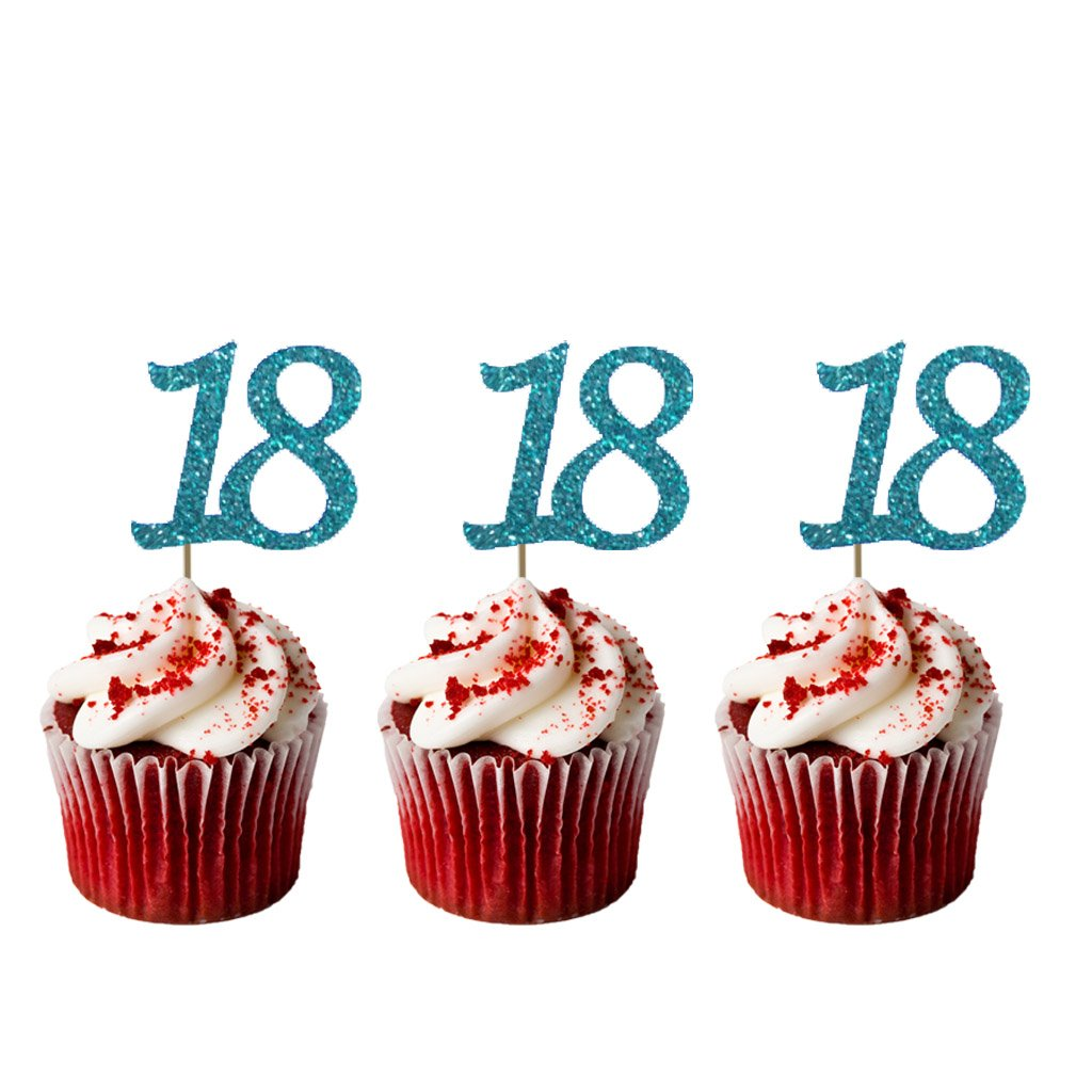 Swell Number 18 Cupcake Toppers 18Th Birthday Cake Topper Glittery Funny Birthday Cards Online Alyptdamsfinfo