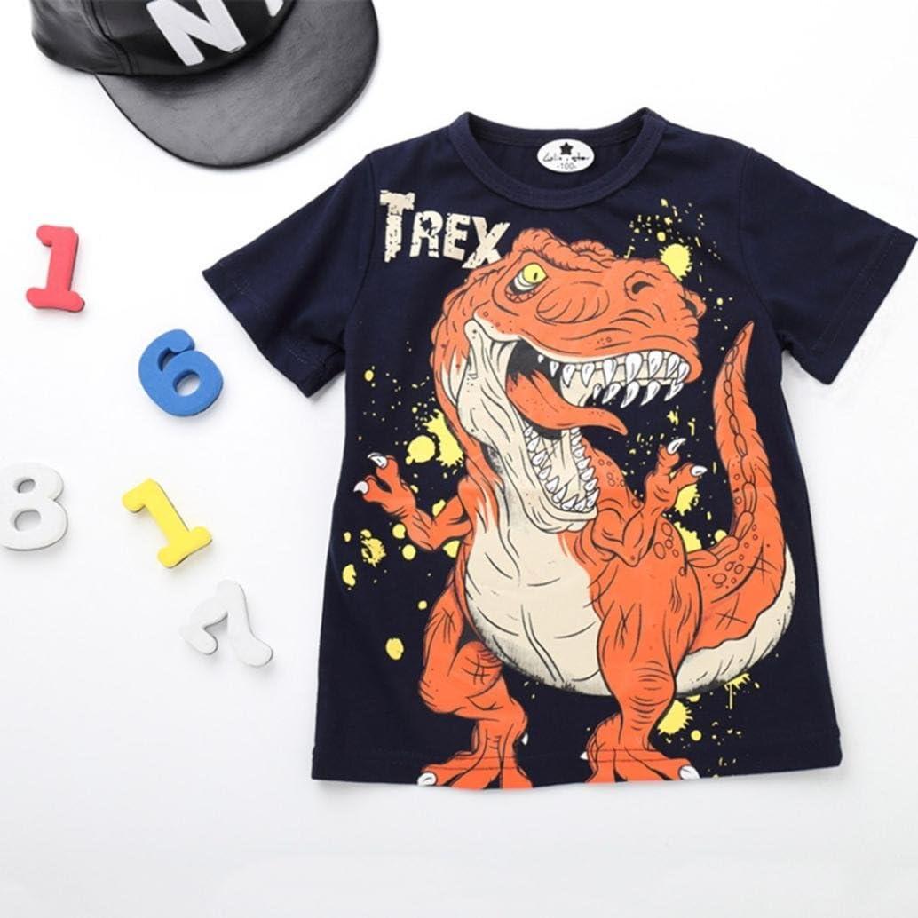 Vinjeely Toddler Infant Boys Summer Cartoon Dinosaur Letter Print Short SleeveT-Shirt Tops Shirts