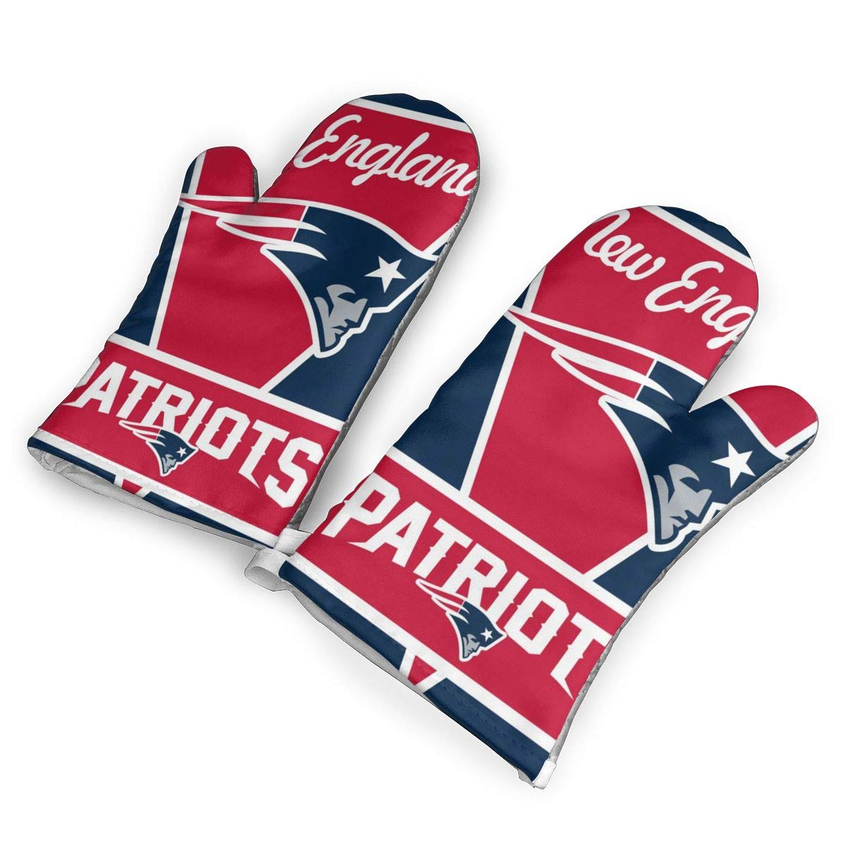 not New England Patriots Oven Mitts with Polyester Fabric Printed Pattern,1 Pair of Heat Resistant Oven Gloves for Cooking,Baking,Grilling,Barbecue Potholders