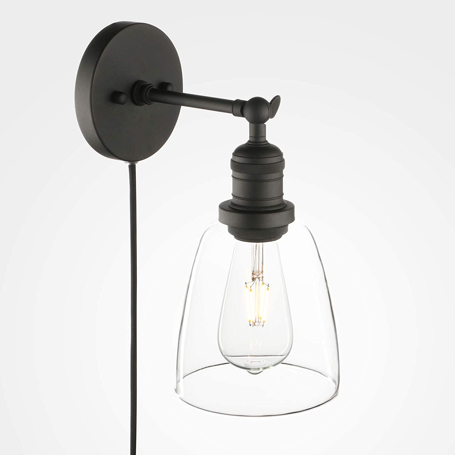 Phansthy Bathroom Vanity Light Matte Black Plug In Wall Sconce With 5 5 Inch Clear Glass Light Shade Amazon Com