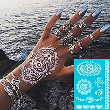 Amazon.com: 6 Sheet White Henna Temporary Tattoo Stickers Henna Lace ...