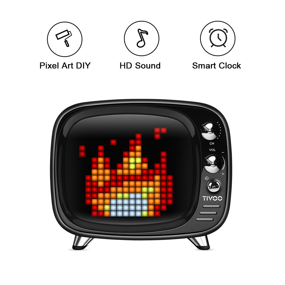 Pixel Art Bluetooth Speaker - Tivoo Retro 16x16 Pixel Art DIY Box. Full RGB Programmable LED by APP Control, Support Android & iOS. Bluetooth Speaker Support TF Card & AUX. Great Fun Gift & Deco.