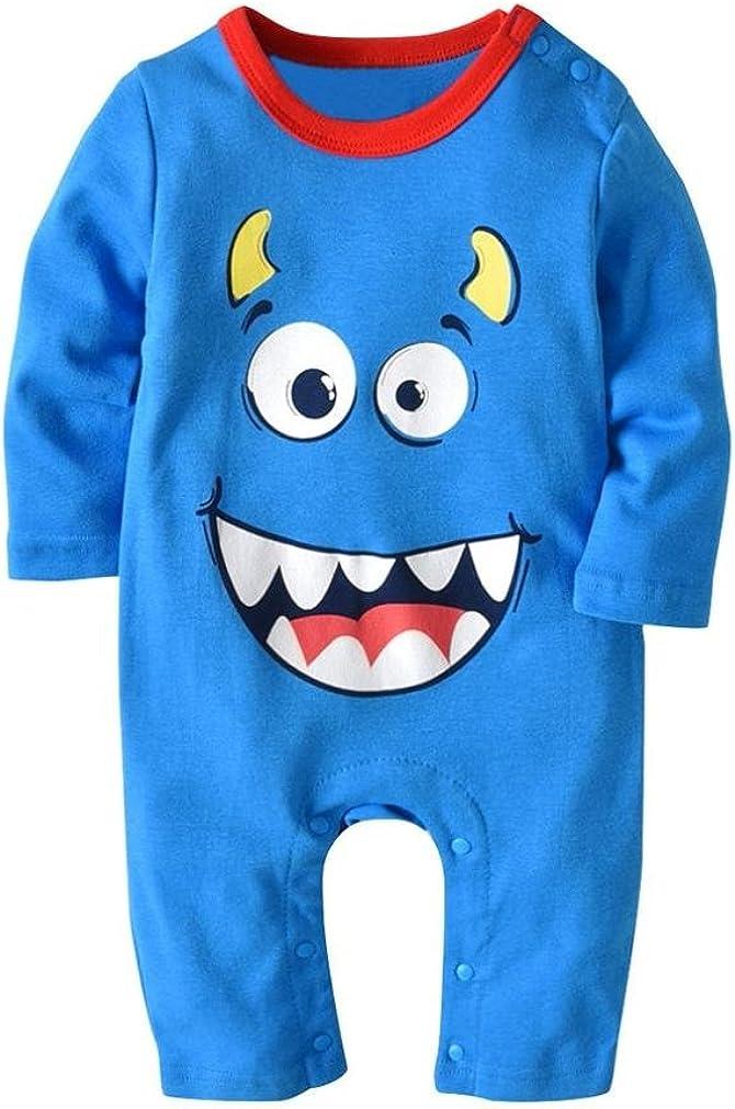 kaiCran Baby Romper,Clothing Baby Girl Boy Newborn Cartoon Print Romper Jumpsuit and Hat Halloween Set Outfit