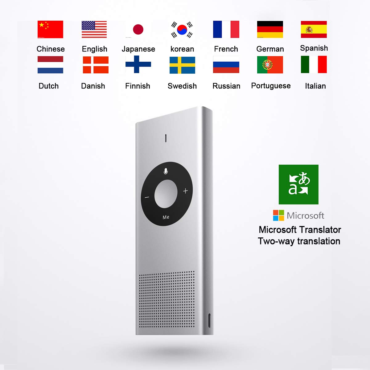 Moyu Xiaomi Mijia AI Smart Language Portable Translator Device, Microsoft Real-Time Intelligent Two-Way Voice Translation, Hotspot WiFi Connection 14 Languages - Silver