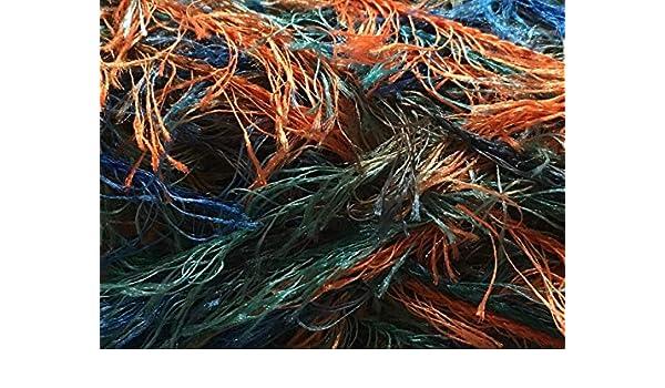 Eyelash Yarn Orange Blue Teal Dark Horse Yarns Lovely Lash #119 Copper Quarry