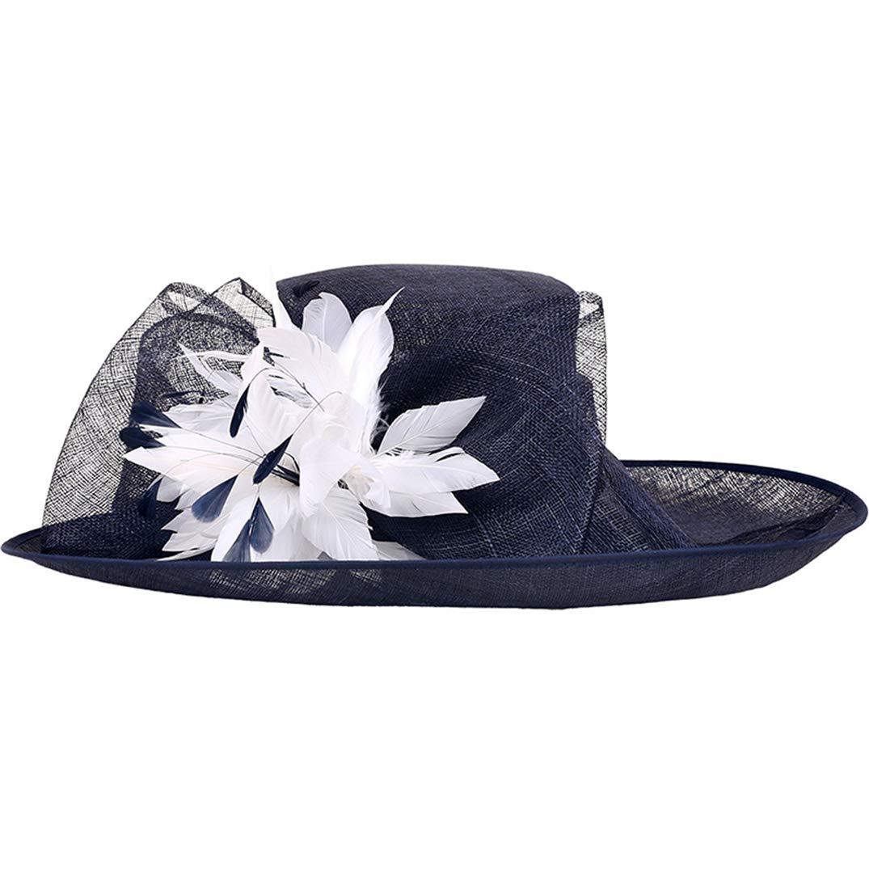 YALOEE Pillbox Hats for Women Fedora Elegant Linen Wedding Fascinator Hat Formal Party Caps Blue by YALOEE (Image #1)