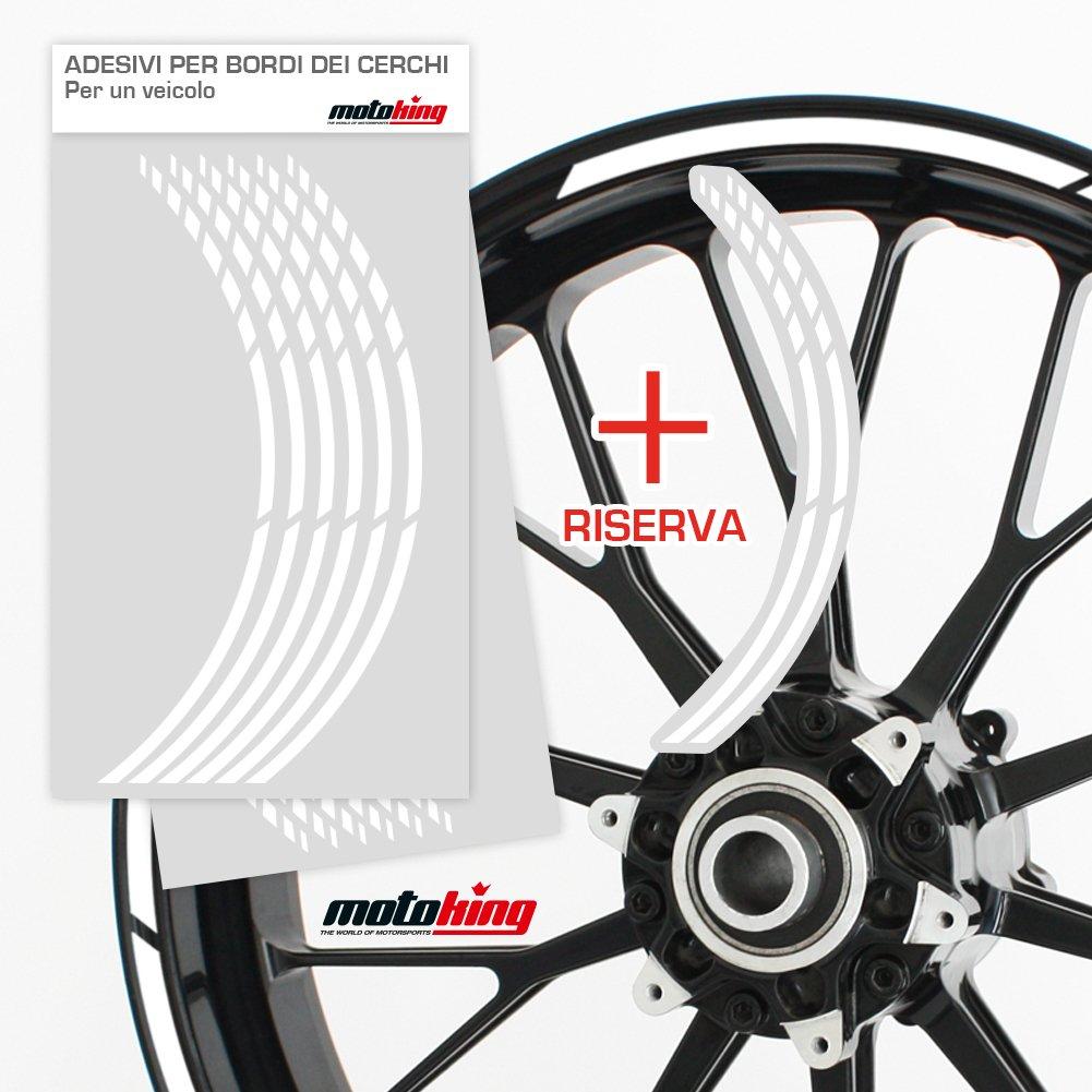 Motoking Adesivi per Il Bordo del cerchione GP Kit Completo per Cerchioni da 15 a 19 Progettazione Grafica Colore a Scelta