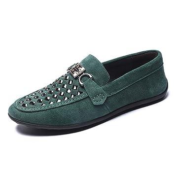 LXLA- Zapatos De Cuero De Ante Ocasionales De La Moda para Hombre, Mocasines con