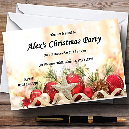 Red Baubles And Pine Cones Personalized Christmas/New Year/Holiday Party Invitations