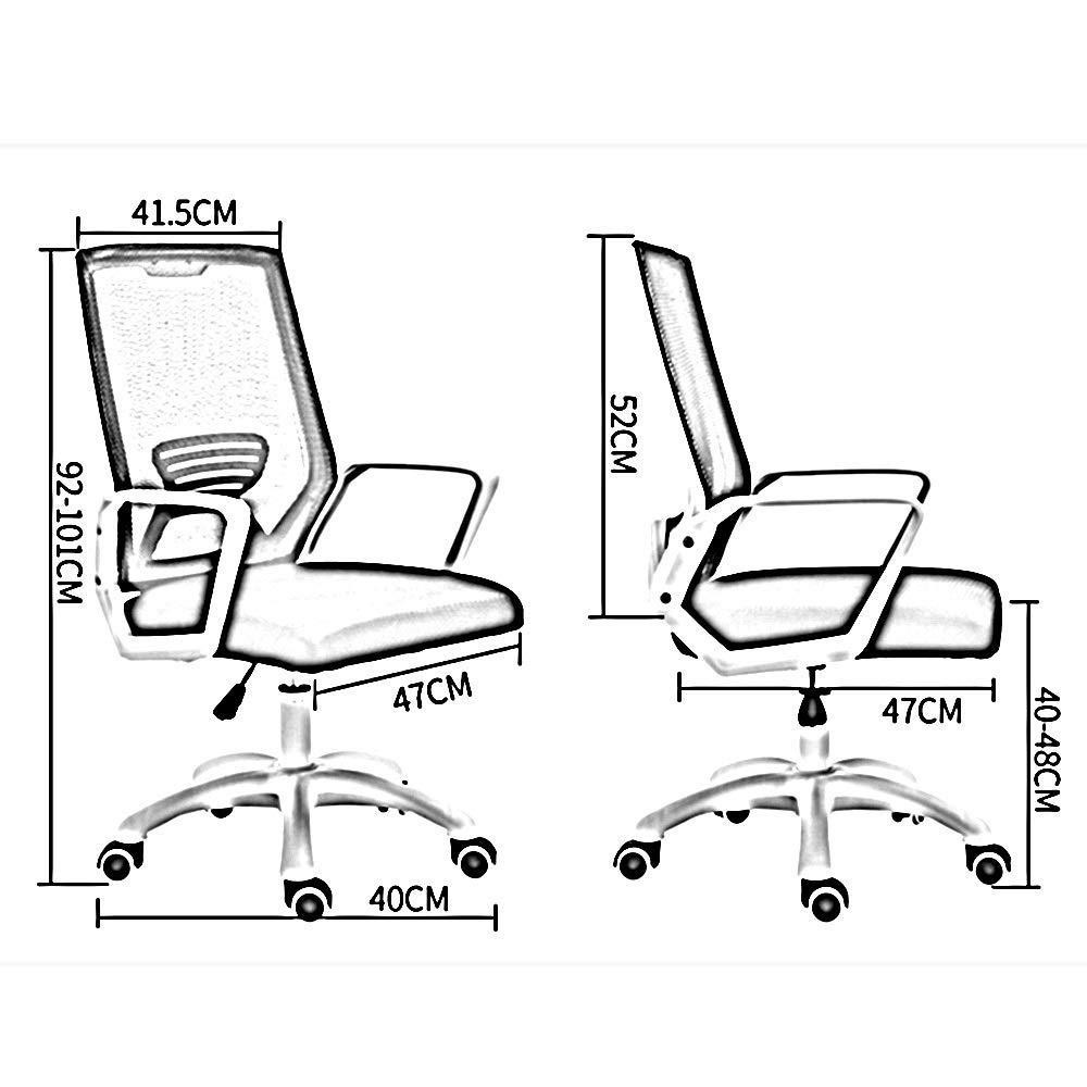 JIEER-C stol kontorsstol hög rygg datorstol ett stycke armstöd nät ergonomisk kontorsskrivbordsstol justerbar Heihgt anställd verkställande stol för mötesrum studentrum, röd Orange