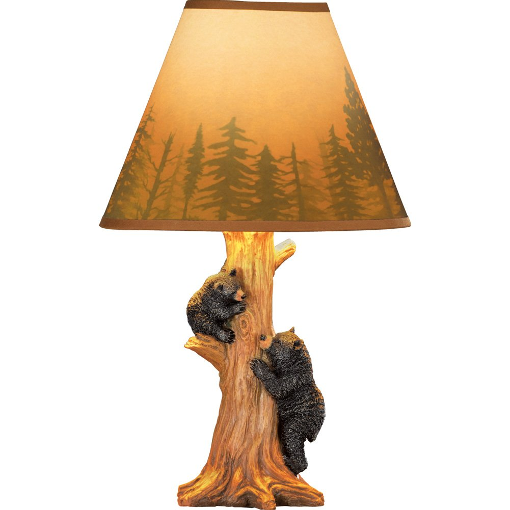 Collections Etc Rustic Climbing Bear Family Northwoods Lamp,14 3/4'' H