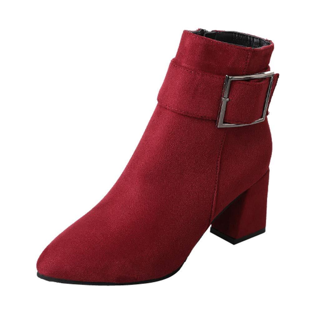 ZHRUI Schuhe Stiefel Damen Mode Damenstiefel Wildleder Stiefel High Heel Schnalle Stiefel Freizeitschuhe Martin Stiefel Kurze Stiefel Outdoor Stiefel (Farbe   Rot Größe   40 EU)