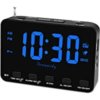 DreamSky Alarm Clock Radio for Bedroom - Small Digital Clock with USB Port, Outlet Powered with Battery Backup, 0-100…