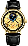 Mens Automatic Watches Gold Tourbillon Skeleton Watch Moon Phase Waterproof Stainless Steel Watch