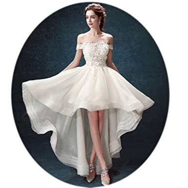 High Low Bridal Gown Off Shoulder Multi Layer Lace Appliques Pleated ...