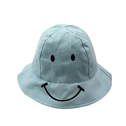 3418884967e ACVIP Little Boy Girl Cute Smile Face Embroidery Sunscreen Casual Bucket Hat  (Blue)