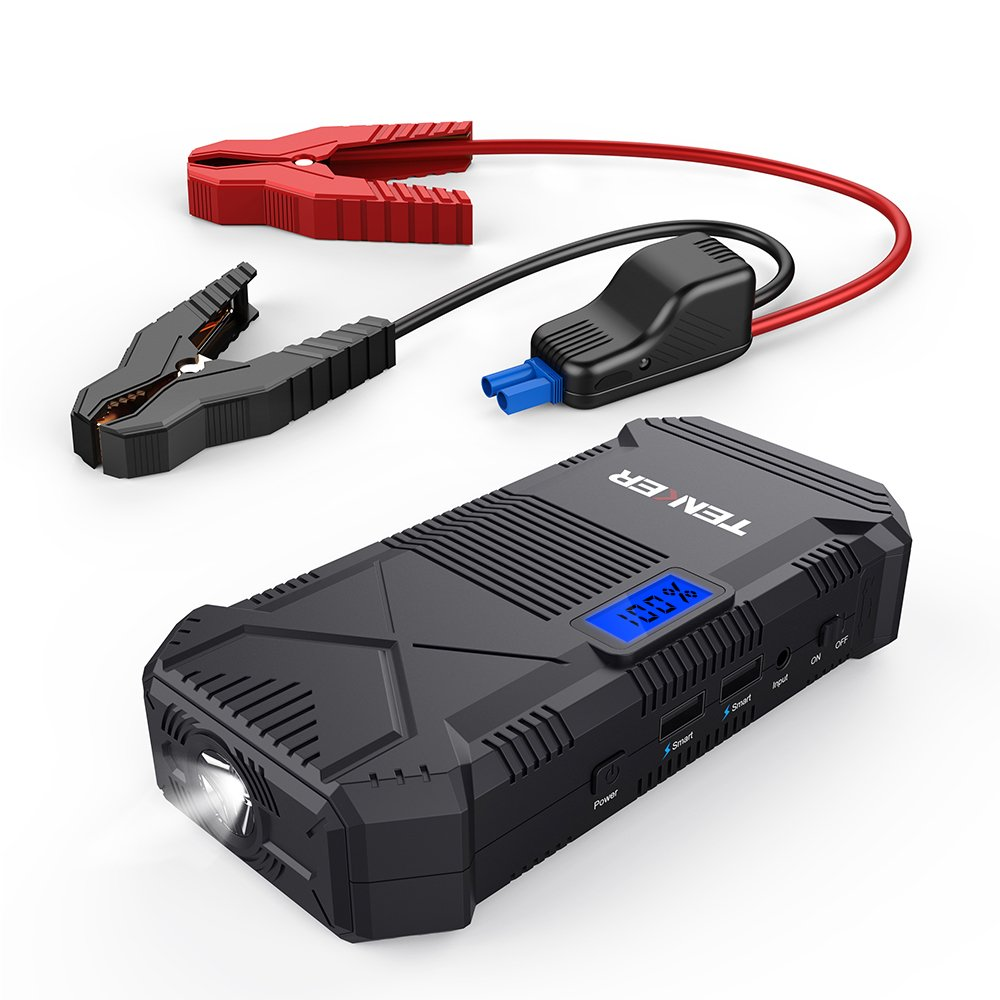 TENKER 600A 14000mAh Portable Car Jump Starter, Emergency Battery Booster Pack, Power Bank with Dual USB Charging Outputs, LED Flashlight and LCD Screen