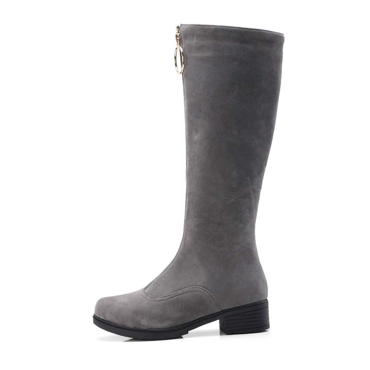 Frauen Runde Zehe niedrige Ferse Lange Stiefel Schuhe