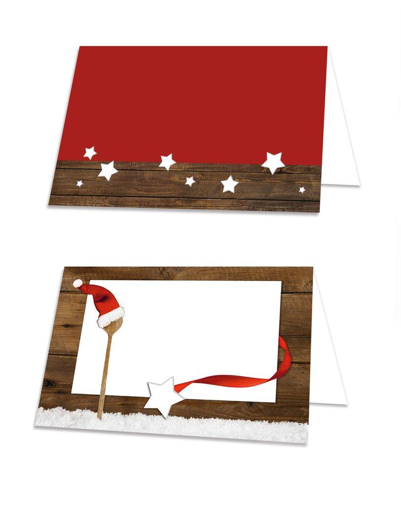 100 Cartons pour plan de table noë l'classique' en rouge avec cuillè re blanc, é galement utilisable é tiquettes de prix ou comme tribe 8,5 x 5,5 cm (plié ) également utilisable étiquettes de prix ou comme tribe 8 5 cm (pli