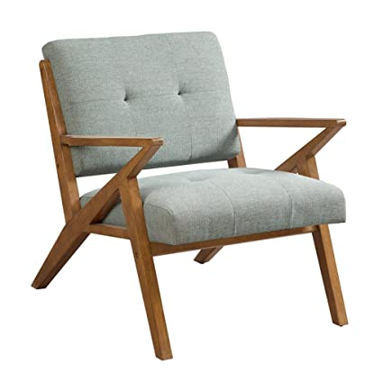 Merveilleux Mid Century Modern Rocket Tufted Seafoam Upholstered Accent Arm Chair With  Solid Wood Frame   Includes