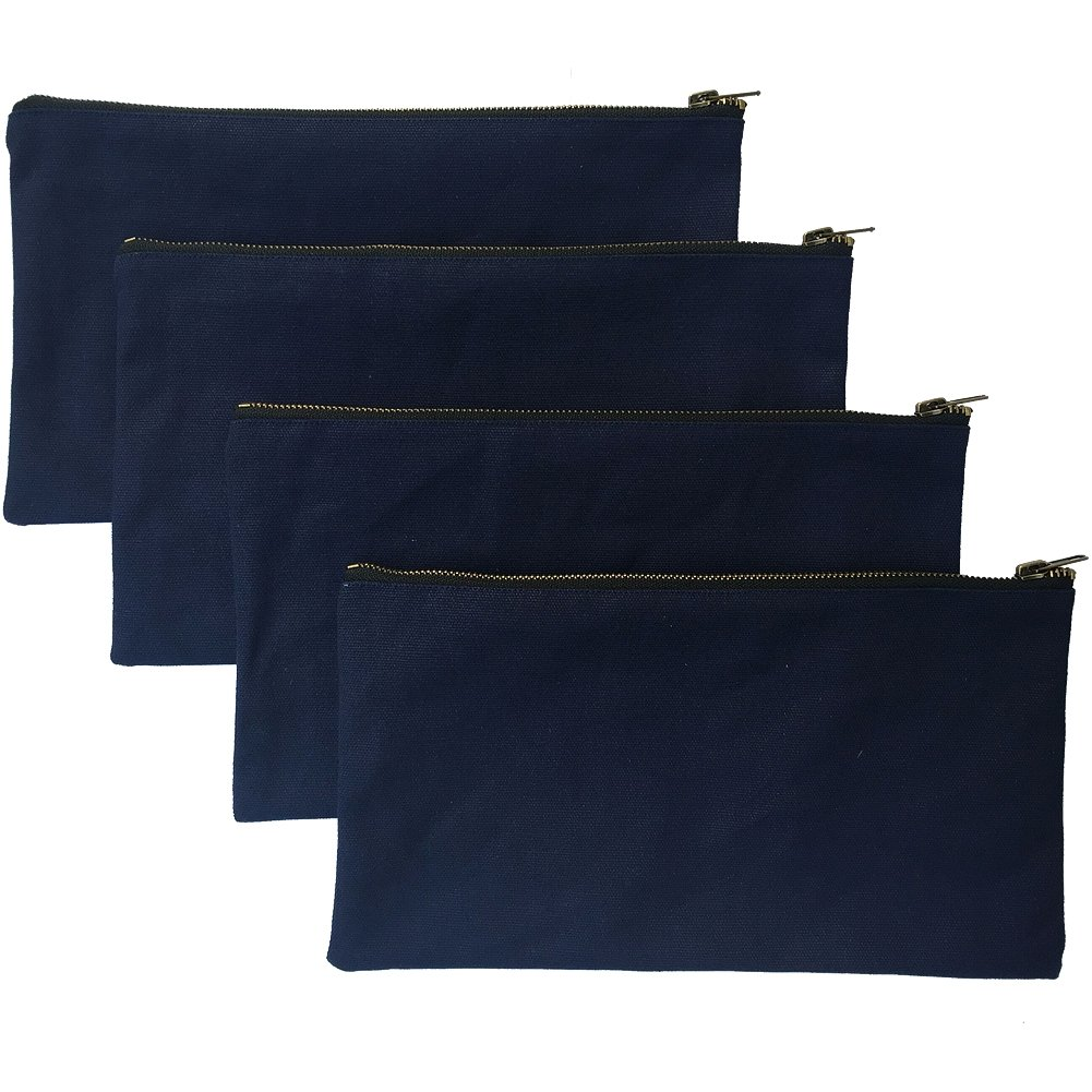 Heavy Duty Waterproof Multi-purpose Canvas Tool Bags with Metal Zippers Organize Smarter & Easily Sorts with Durable Storage Best Gift for Handymen Repairmen Woodworkers HGJ02-004 Navy, Pack of 4